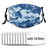 Washable Reusable Mouth Guard Activated Carbon Filters, Navy Blue Camouflage Pollen Pollution Face Guard for Motorcycle Travel with Adjustable Ear Loops - 10 Filter