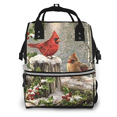 Yuanmeiju Red Bird Holly Berry Ramas Momia Mochila Bolsas de pañales impermeables Mochila de viaje multifunción Bolsa de pañales grande