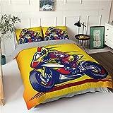 HGFHKL 3D Motorrad gelb Bettbezug Kissenbezug Tagesdecke Luxus Bettwäsche Set Home Dekoration Erwachsenen Tagesdecke