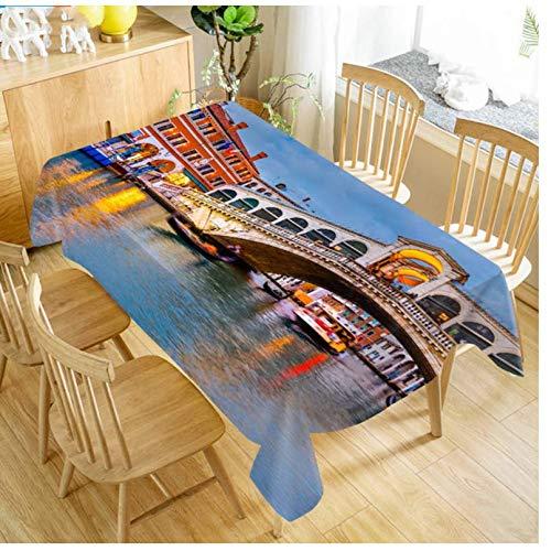 JDCFAS tafelkleed, motief Bridge Venice Water City, huisdecoratie, gemakkelijk te reinigen en wasbaar, stofdicht en duurzaam