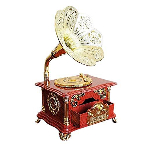 DJG Creative Gramophone Music Box, Boîte à Bijoux Cadeau de Noël Rétro Music Box Crafts Mobilier Décoration Accessoires