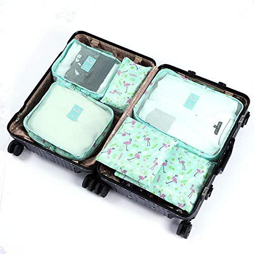Travel Luggage Storage Box Portable Packaging Cube Baggage Compression Bag Packing Cubes for Travel Breathable Ventilation Easy to View Nylon Travel Storage Bag Bags (6pcs) Green
