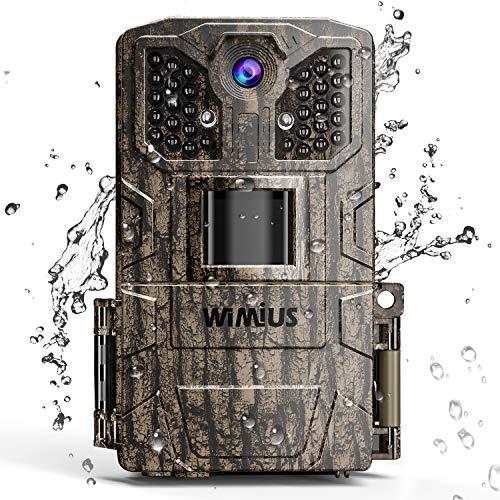 WiMiUS H6 Caméra de Chasse, 16MP 1080P HD Caméra de Faune 32 Capteurs Infrarouges LED de 940nm Vision Nocturne avec 2.0'' LCD de Mouvement Thermique Étanche IP66 et Vitesse Caméra de Jeu de