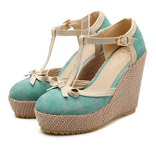 Great Deal! Women's Wedge Platform Sandals,Ladies Closed Toe Casual Summer Ankle Bukle Strap Bowknot...