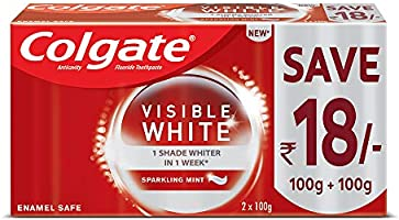 Colgate Visible White, teeth whitening Toothpaste with sparkling mint - 200gm Saver Pack