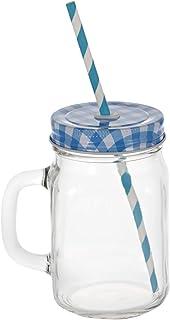 إيست ليدي ELT233 كوب زجاجي للعصير ياتي مع قشة وغطاء، ازرق