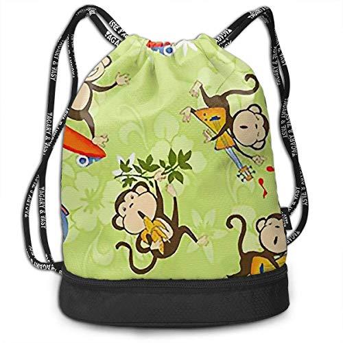 PmseK Turnbeutel Sportbeutel Kordelzug Rucksack, Cute Monkey Ride Bike Drawstring Bags Shoulder Cinch Storage Bag for Traveling Hiking