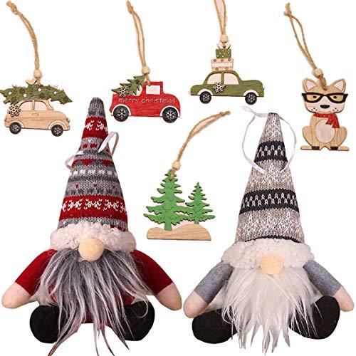 Fiyuer muñecos de gnomo 7 Pcs Adornos Colgantes de árbol de Navidad para Navidad árbol de Fiesta decoración