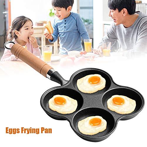 LZDseller01 - Padella per uova in alluminio, 4 tazze, antiaderente, per uova fritte e in camicia, Non null, Nero , Taglia libera
