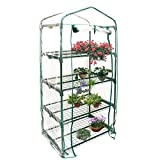4 Tier Garden Greenhouse Cover, Mini Greenhouse Replacement Cover Reinforced PVC Plastic Cover Portable Gardening Plant Cover Garden Flower Shelter (without Metal Frame )