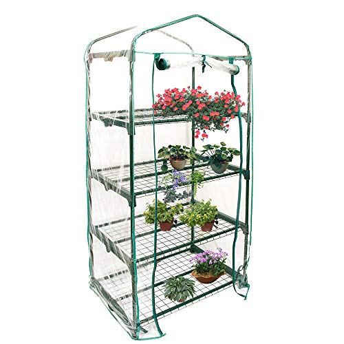 4 Tier Garden Greenhouse Cover, Mini Greenhouse Replacement Cover Reinforced PVC Plastic Cover...
