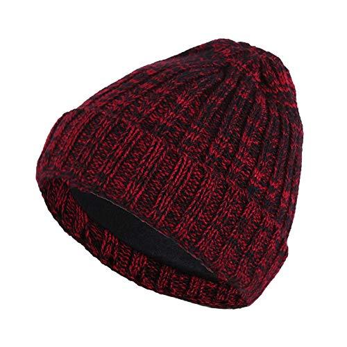 Lubier - Gorro de Invierno para Hombre y Mujer, diseño de línea de algodón Grueso, Color Mixto, Rojo Vino, 20 * 20 cm