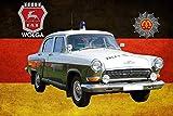 NWFS Polizei Auto DDR Wolga Volkspolizei Blechschild Metallschild Schild Metal Tin Sign gewölbt lackiert 20 x 30 cm