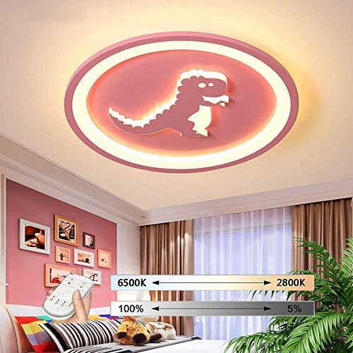 HIL LED-plafondlamp, met Bluetooth, modern, ultradun, dinosaurus vorm, rond, kroonluchter voor slaapkamer kinderkamer dimbaar met afstandsbediening Roze