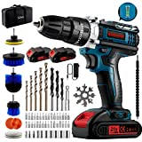 Cordless Drill/Driver Kit, undreem Impact drill set with 2X 21V batteries & Cleaning Brush,Cordless Screwdriver with 61 Accessory,25+3 Clutch,Power Drill With 3 functions for screw,drilling,concrete