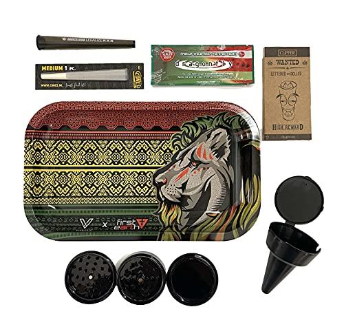 Kit para fumar - Bandeja de liar - Cenicero de playa - Papel de liar con sabor - Grinder para especias - Pack premium