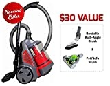OVENTE Electric Bagless Canister Vacuum, HEPA Filtration System, Automatic Cable Rewind, Floor & Furniture Nozzle, Pet/Sofa, Multi-Angle Brush, Red (ST2620R)