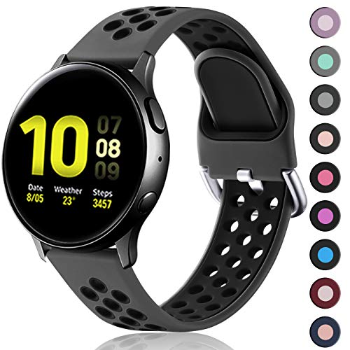 Lerobo Compatible for Samsung Galaxy Active 2 Watch Bands 44mm 40mm,Active Watch Bands, Galaxy Watch bands 42mm, 20mm Soft Silicone Sports Wristband Replacement Straps for Women Men Black,Large