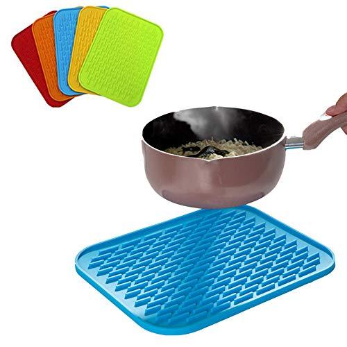 Non-Slip Isolatie Mat, Silicone Dish Drogen Mat, Aanrecht Folding Mats, Multifunctioneel Coaster, Pot En Pan Meal Drainer, Car Ingebouwde Non-Slip Holder, 5Pcs,Color mixed