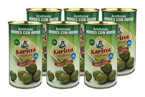 Karina Grüne Manzanilla-Oliven mit Stein, Dose, 6er Pack (6 x 185 g) Abtropfgewicht