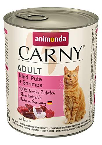 animonda Carny Adult Katzenfutter, Nassfutter für ausgewachsene Katzen, Rind, Pute + Shrimps, 6 x 800 g