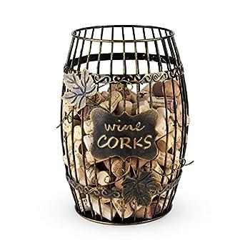 True Display Wine Kitchen Barrel Cage Holder Collector Decorative Vino Cork Storage Box Container Gift Set of 1 Brown