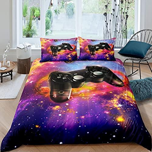 Juego de ropa de cama doble tamaño, color azul y morado con 2 fundas de almohada para adolescentes y adultos, consola de juegos retro, funda de cama decorativa transpirable, 3 piezas