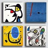 Printerland - Cuadros modernos estilo miro mirò 4 piezas 30 x 30 cm decoración arte...