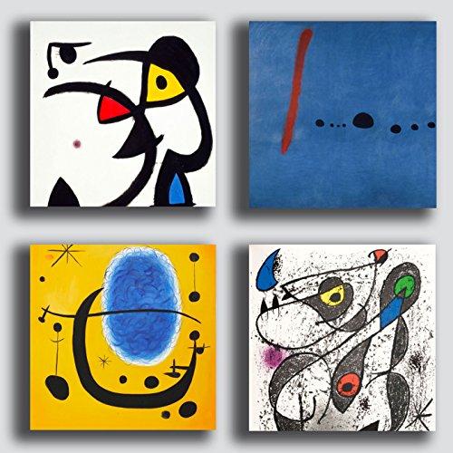 Quadri Moderni stile MIRO Joan mirò 4 pezzi 40x40 cmStampa Tela CANVAS Arredamento Arte Astratto XXL Arredo soggiorno salotto camera da letto cucina ufficio