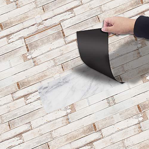 Kuke Bodenaufkleber Selbstklebend 20x300 cm, Muster Stil Bodenfliesen Fliesenaufkleber wasserdichte Anti-Rutsch Fliesensticker für Küchenboden Bad Wohnzimmer Balkon
