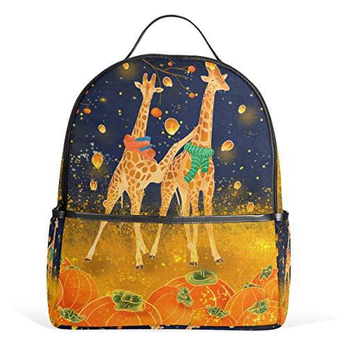 Orange Giraffe Kürbis Laterne Schulrucksack Segeltuch Rucksack große Kapazität Tasche Casual Reise Tagesrucksack für Kinder Mädchen Jungen Kinder Studenten 3–9 Jahre alt