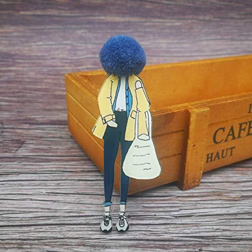 Wonderful Day Broches de Moda para Mujer Broches Niñas Cara Modelos de Dibujos Animados Broches de acrílico Kawaii Pom Pom Ropa Accesorios de joyería, Style5
