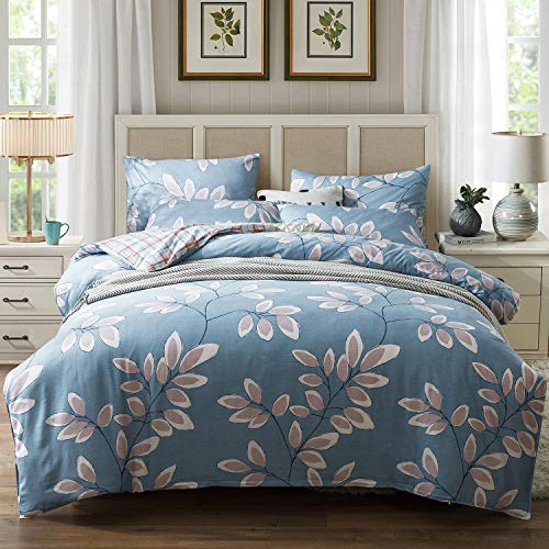 Kosa Bedding 100% Cotton Duvet Cover Set,Botanical Flowers and Birds Pattern Printed Duvet Cover with Zipper Closure,Soft Comforter Cover Sets,Reversible Pattern Bedding Set for All Season(Queen Size)