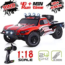 Remote Control Car, RC Cars for Kids and Adults, 4WD 2.4GHz 1:18 Scale High Speed Racing RC Car with 2 Rechargeable Batteries, Off Road RC Trucks Christmas Toy Cars