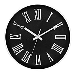 Tebery 12-Inch Silent White Round Wall Clocks Decorative Roman Numeral Clock Battery Operated