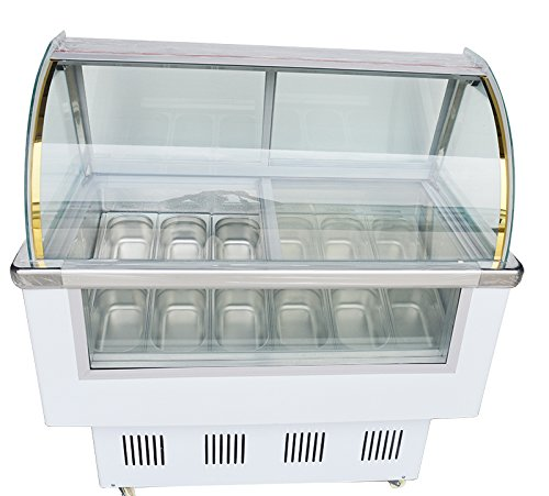 INTBUYING Commercial Ice Cream Refrigerator Gelato Showcase Freezer Refrigeration Machine 12 Pan