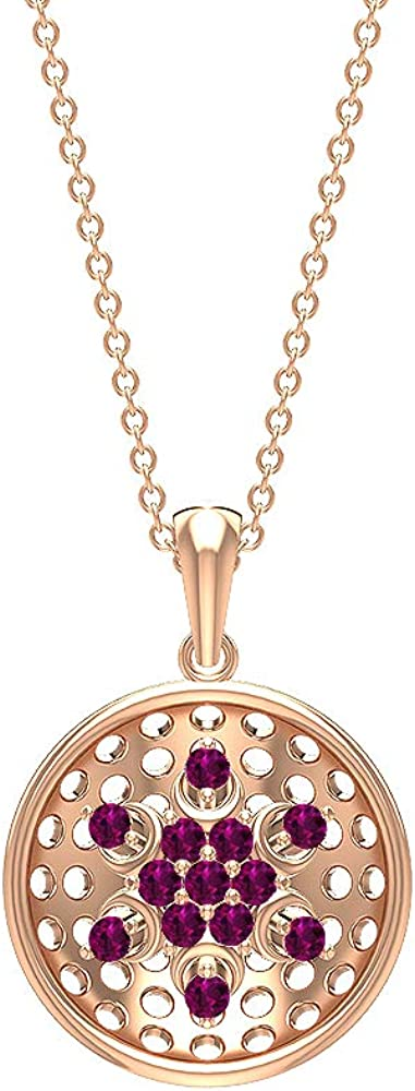 Round 1/3CT Certified Rhodolite Cluster Disc Charm Pendant, Solid 14k Gold Engraved Statement Eternity Drop Pendant, Stackable Anniversary Locket