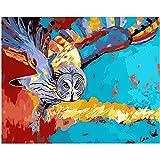 Zhxx Pintar Por Numeros Rotulador Colorido Búho Animal Digital Moderno Arte De La Pared Pintura De La Lona Regalo Para Los Niños Decoración Para El Hogar 40X50Cm Sin Marco