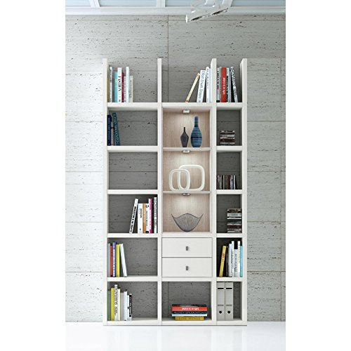 FiF Wohnzimmer Wandregal Toleo 238 | In Weiss Hochglanz | Mit LED | 119 x 221 x 33 cm