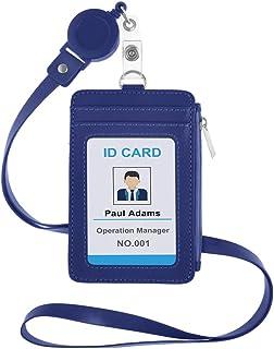 GOGO Porte-Badges avec Lanière et Cordon tour de cou badge,porte-carte d'identité avec fermeture éclair latérale et col am...