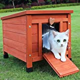 Small Animal House Cage Outdoor Cat Condo Wooden Guinea Pig House