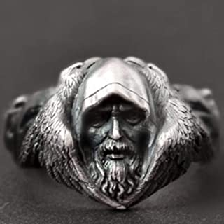Norse Mythology Odin Raven Silver Rings Mens Viking Wolf Stainless Steel Ring Scandinavian Amulet Jewelry