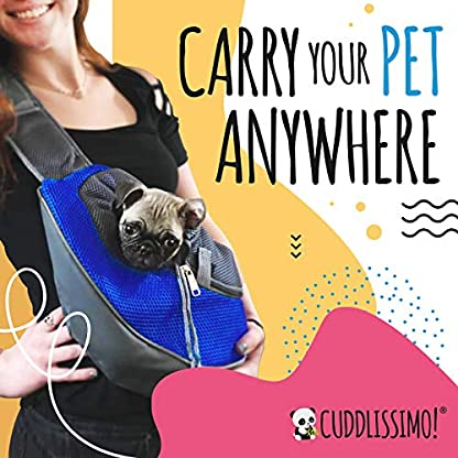 Cuddlissimo! Pet Sling Carrier - Small Dog Puppy Cat Carrying Bag Purse Pouch - For Pooch Doggy Doggie Yorkie Chihuahua Baby Papoose Bjorn - Travel Front Backpack Chest Body Holder Pack To Wear (Blue) 3