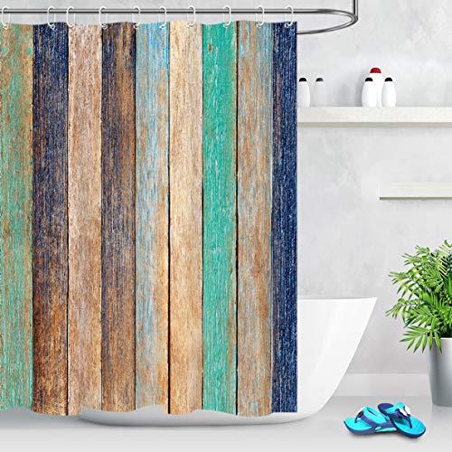 LB Vintage Holz Duschvorhang Holzbrett Polyester Stoff Extra Lang Bad Gardinen Wasserdicht Anti Schimmel Badezimmer Deko Heimzubehör mit Vorhanghaken,150X180cm
