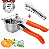 Lemon Squeezer, Manual Stainless Steel Fruit Juicer, Orange Silicone Handle, Portable Premium Citrus Press, Heavy Duty Hand Orange Squeezer, Kitchen Professional Lime Extractor Tool, Homemade Juice