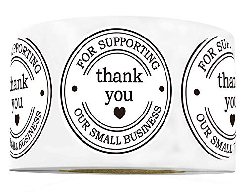"""1.5"""" Round Thank You Stickers - Printed Thank You for Supporting Our Small Business Stickers with Hearts - 500 Thank You Labels Per Roll (White, 1.5 Inch)"""