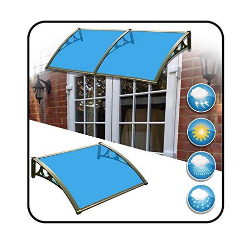 MYAN Marquesina De Puertas, Tejadillo De Protección Terraza Techo Arco De Proa Policarbonato Cubrir Refugio De Lluvia, Peso Capacidad 100kg, Tamaño Múltiple (Color : Blue, Size : 120cm x 76cm)