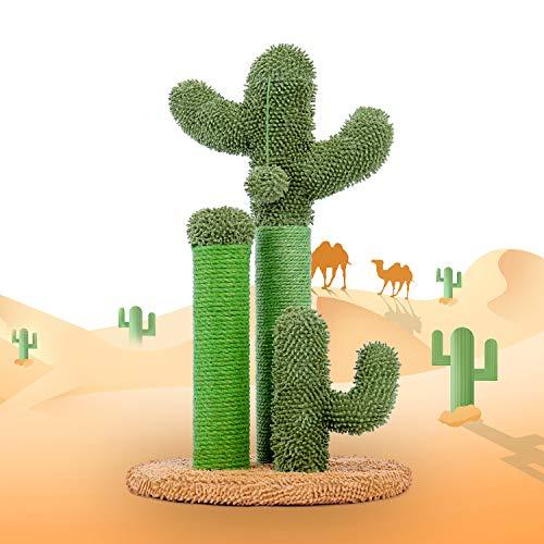 PAWZ Road Cactus Colonne Tiragraffi per Gatti, Tiragraffi a Forma di Cactus con Palla appesa e Base Robusta per Gatti, Fondo Marrone 53cm (Taglia M)