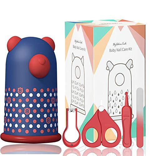 HyAdierTech Baby 4in1 Pflege-Set für Fingernägel und Fußnägel mit Nagelknipser, Nagelschere, Nagelfeile und Pinzette für Kinder und Neugeborene in süßer Verpackung (Bär)