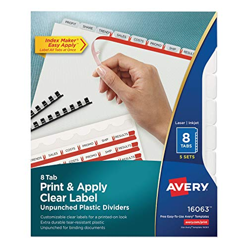 Avery Print and Apply Index Maker Clear Label Unpunched Dividers with Printable Label Strip, 8-Tab, 11 x 8.5, Clear, 5 Sets